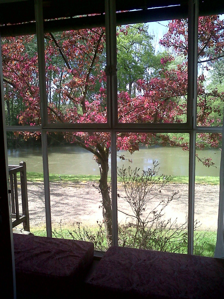 From inside Richard Wrights writing cottage looking onto stream and flowering trees on Normandy vacation packages The Masters